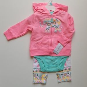 carters babygirl onesie pants jacket matching set
